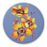 Elegant Orange Flowers - Blue Grey Ceramic Knob