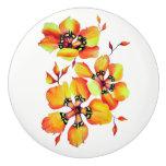 Elegant Orange Flowers Ceramic Knob