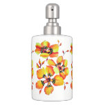 Elegant Orange Flowers Soap Dispenser And Toothbrush Holder