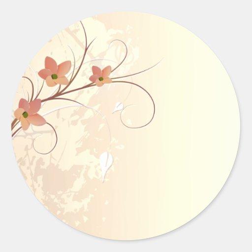 elegant orange flowers swirl design stickers