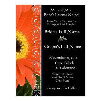 Elegant Orange Gerber Daisy Wedding Invitation Postcard