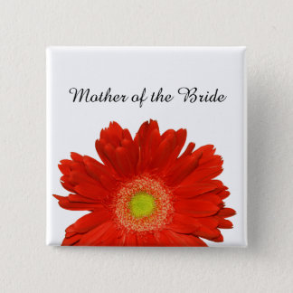 Elegant Orange Gerbera Daisy Wedding Button