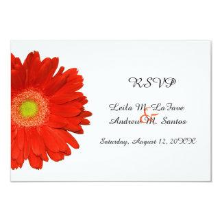 Elegant Orange Gerbera Daisy Wedding RSVP Card