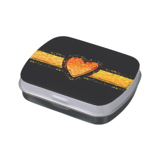 Elegant Orange Heart Valentine's day on Black Jelly Belly Tins