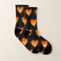 Elegant Orange Heart Valentine's day pattern black Socks