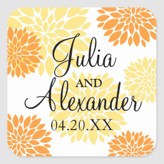 Elegant Orange Light Yellow Floral Burst Wedding Square Sticker