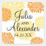 Elegant Orange Light Yellow Floral Burst Wedding Square Sticker