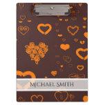Elegant Orange Modern Heart Pattern Clipboard