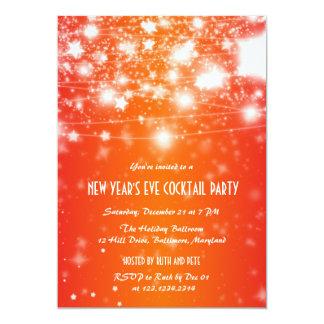 Elegant Orange New Year's Eve Party Shining Stars Card
