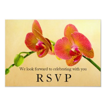 Beach Themed Elegant Orange Orchids Response RSVP Card