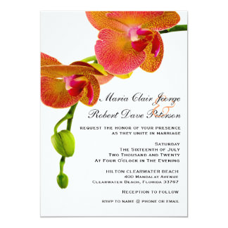 Elegant Orange Orchids Tropical Beach Wedding Card