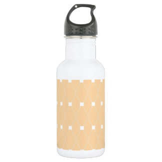 Elegant Orange Peach White Diamond Squares Pattern Stainless Steel Water Bottle