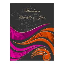 """Elegant """"orange pink"""" Thank You Cards"""