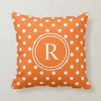 Elegant Orange Polka Dotted Monogram Throw Pillow