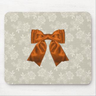 Elegant Orange Ribbon on Lace Mousemat Mouse Pad