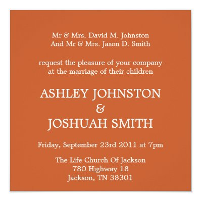 Elegant Orange Square Wedding Invites