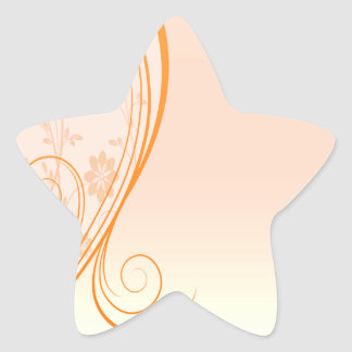 Elegant orange swirls special gift star sticker
