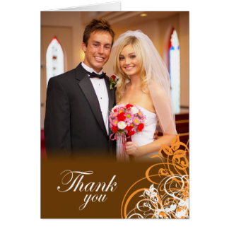 Elegant orange swirls wedding thank you photo card