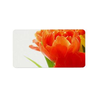 Elegant Orange Tulips Custom Address Labels