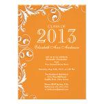 Elegant Orange White Graduation Party Invitation