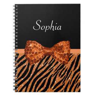 Elegant Orange Zebra Print FAUX Glitz Bow and Name Notebook