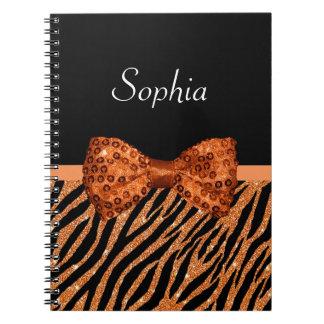 Elegant Orange Zebra Print FAUX Glitz Bow and Name Notebook