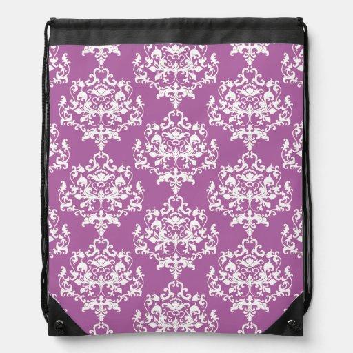 Elegant Orchid Damask Drawstring Backpack