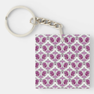 Elegant Orchid Floral Paisley Pattern On White Square Acrylic Key Chains