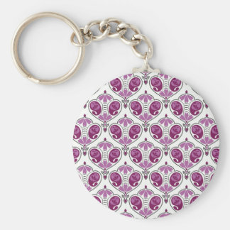 Elegant Orchid Floral Paisley Pattern On White Keychains