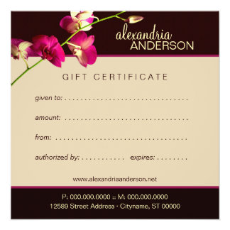 Elegant Orchid Gift Certificate Personalized Invitation