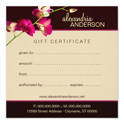 Elegant orchid gift certificate invitation zazzle for Zazzle gift certificate