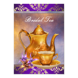 Elegant Orchid Gold and Purple Bridal Tea Party Card