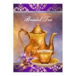 Elegant Orchid Gold and Purple Bridal Tea Party Custom Announcement