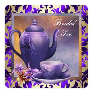 Elegant Orchid Gold Purple Bridal Tea Party Custom Invite