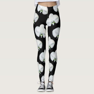 Elegant Orchid Print Floral Black and White Leggings