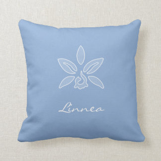 Elegant Orchid Simple Powder Blue Flower With Name Pillows