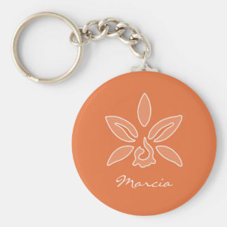 Elegant Orchid Simple Rich Orange Flower and Name Basic Round Button Keychain