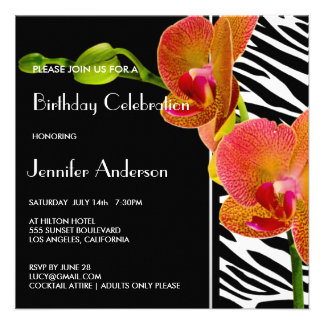 Elegant Orchids Zebra Print Birthday Party Invites Personalized Announcements
