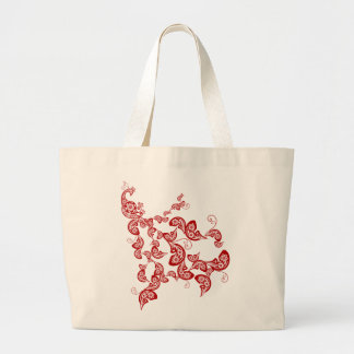 Elegant Oriental Chic Chinese Red Floral Peacock Large Tote Bag