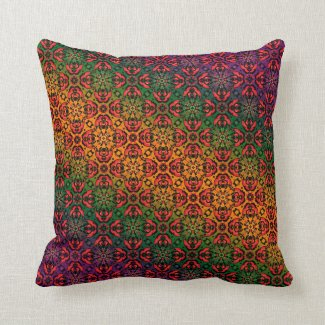 Elegant Oriental Spendor Fancy Red Purple Damask Throw Pillow