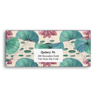Elegant Oriental watercolor lotus painting Envelope