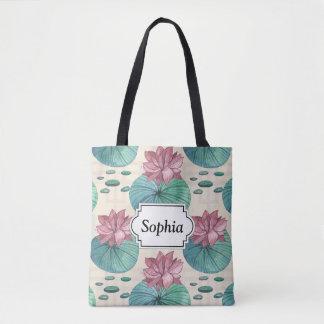 Elegant Oriental watercolor lotus painting Tote Bag