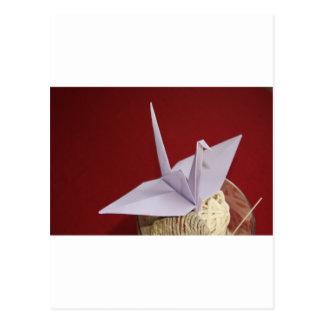 elegant origami crane postcard