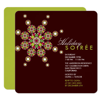Elegant Ornament Star Holiday Soiree Party Invite