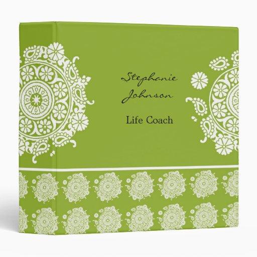Elegant Ornament White/Green Avery Binder