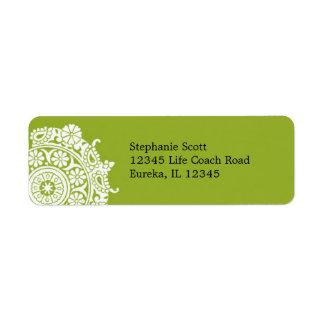 Elegant Ornament White/Lime Green Avery Label Return Address Label