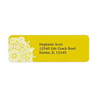 Elegant Ornament White/Yellow Avery Label Return Address Label