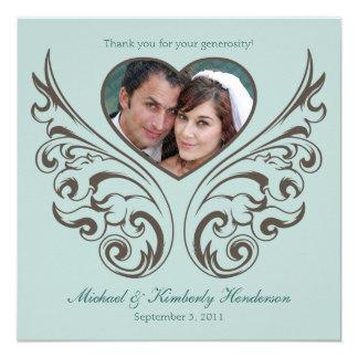 Elegant Ornamental Photo Heart Thank You Card