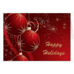 Elegant Ornaments in Red, Happy Holidays Greeting Cards