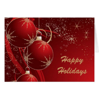 Elegant Ornaments in Red, Happy Holidays Card